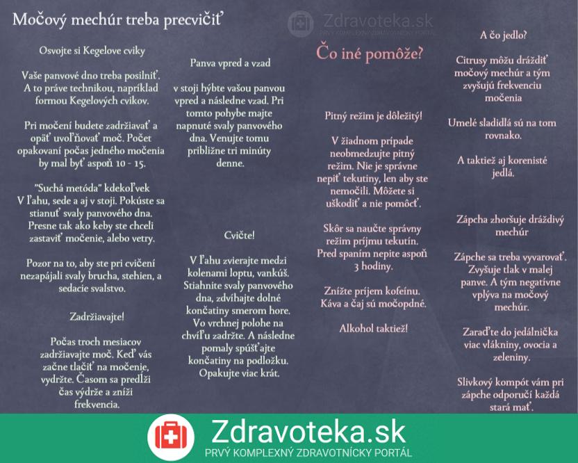infografika hovoí o cvičeniach ktoré pomáhajú pri častom nutkaní na močenie a režimových opatreniach